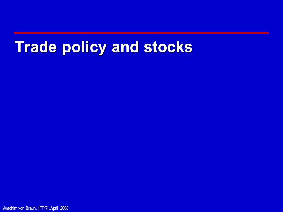 Joachim von Braun, IFPRI, April 2008 Trade policy and stocks