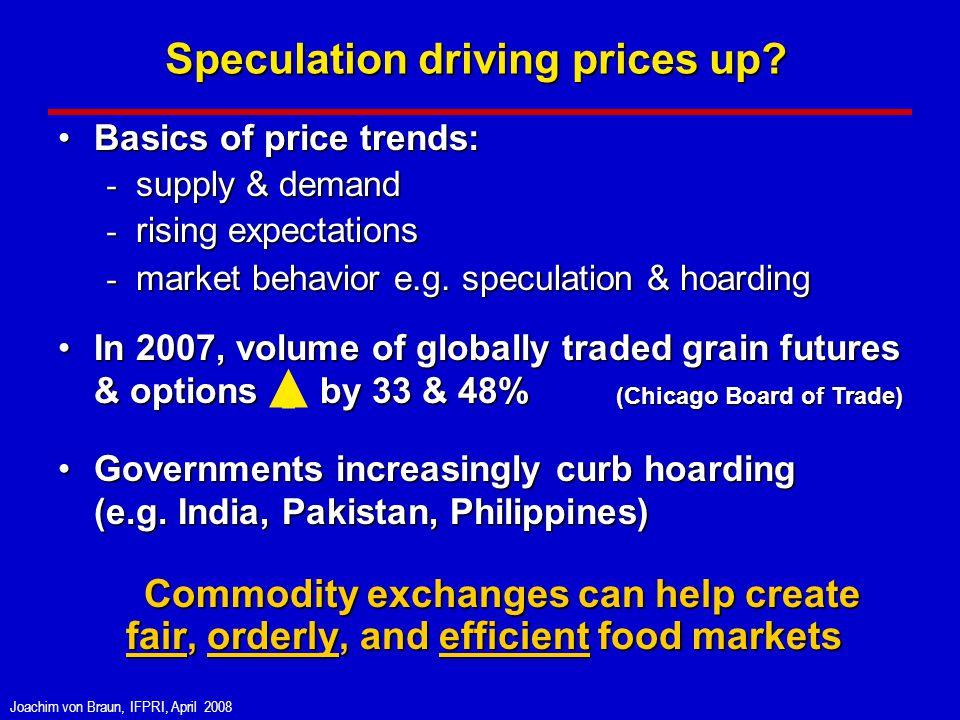 Joachim von Braun, IFPRI, April 2008 Basics of price trends:Basics of price trends: - supply & demand - rising expectations - market behavior e.g.