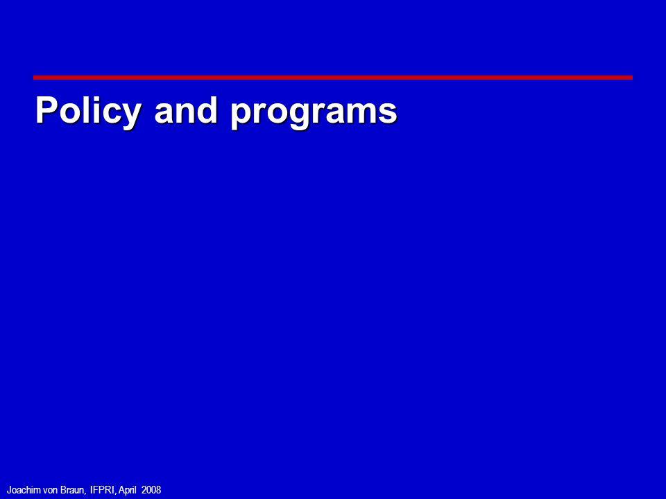 Joachim von Braun, IFPRI, April 2008 Policy and programs