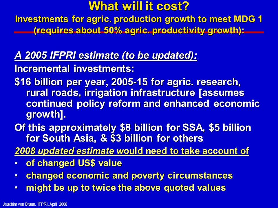 Joachim von Braun, IFPRI, April 2008 What will it cost.