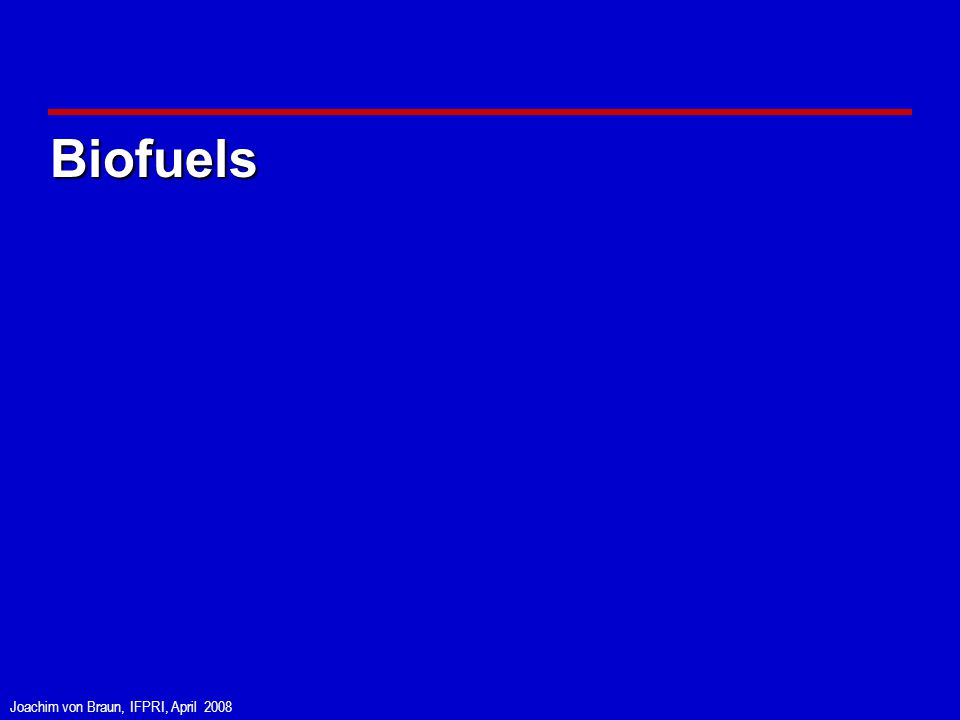 Joachim von Braun, IFPRI, April 2008 Biofuels