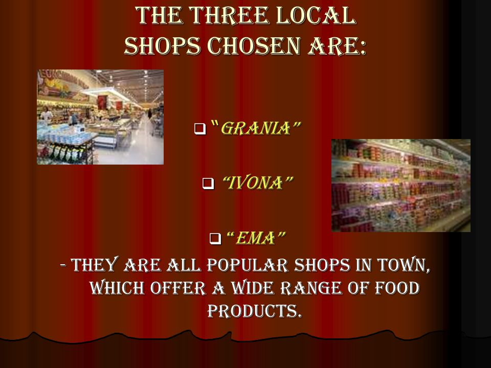 The three local shops chosen are: Grania Grania Ivona Ivona EmaEma - They are all popular shops in town, which offer a wide range of food products.