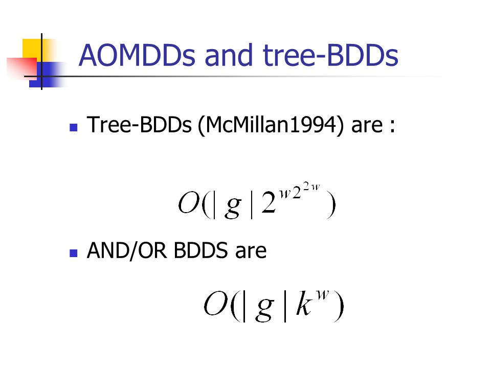 AOMDDs and tree-BDDs Tree-BDDs (McMillan1994) are : AND/OR BDDS are
