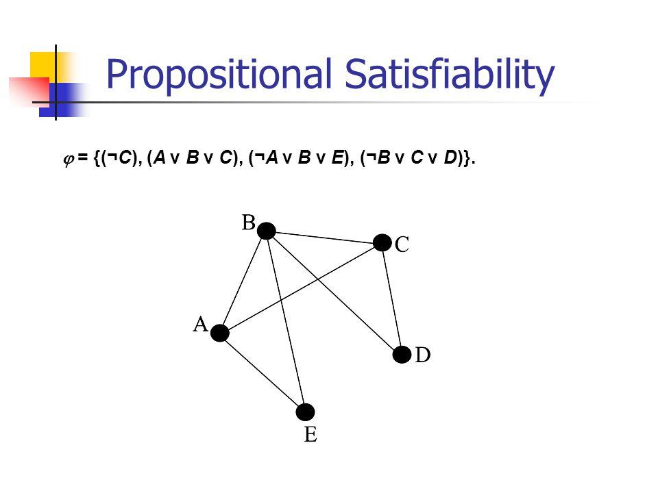 = {(¬C), (A v B v C), (¬A v B v E), (¬B v C v D)}. Propositional Satisfiability