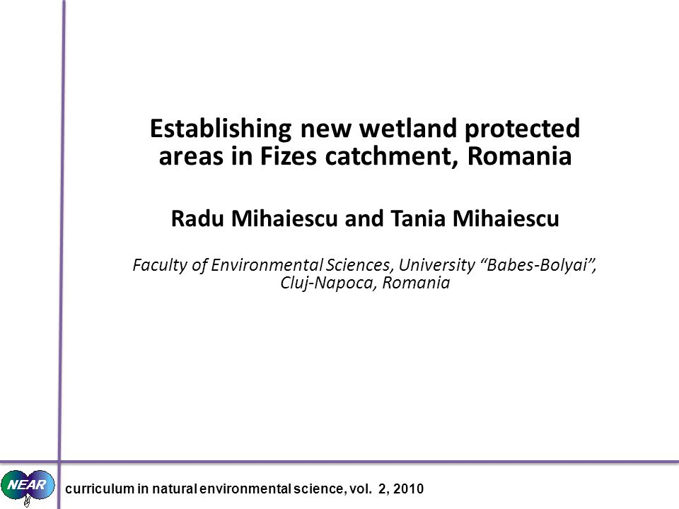 Map of Romania curriculum in natural environmental science, vol. 2, 2010