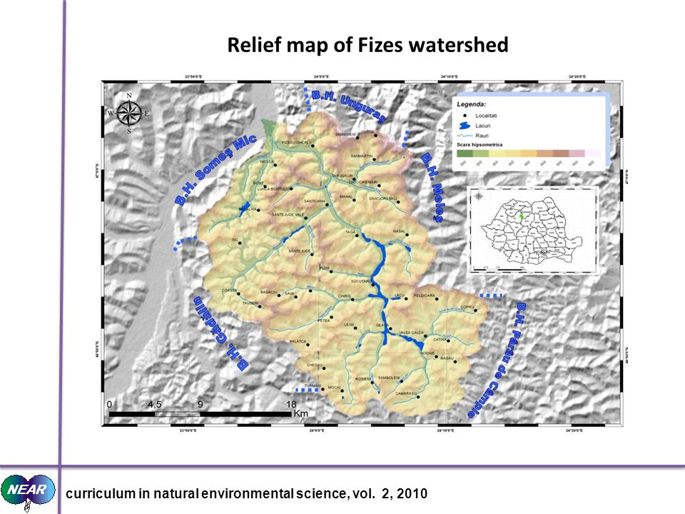 Relief map of Fizes watershed curriculum in natural environmental science, vol. 2, 2010