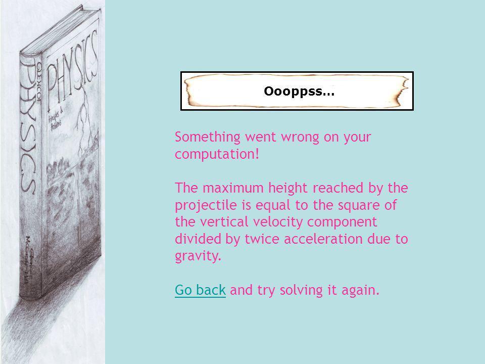Oooppss… Something went wrong on your computation.