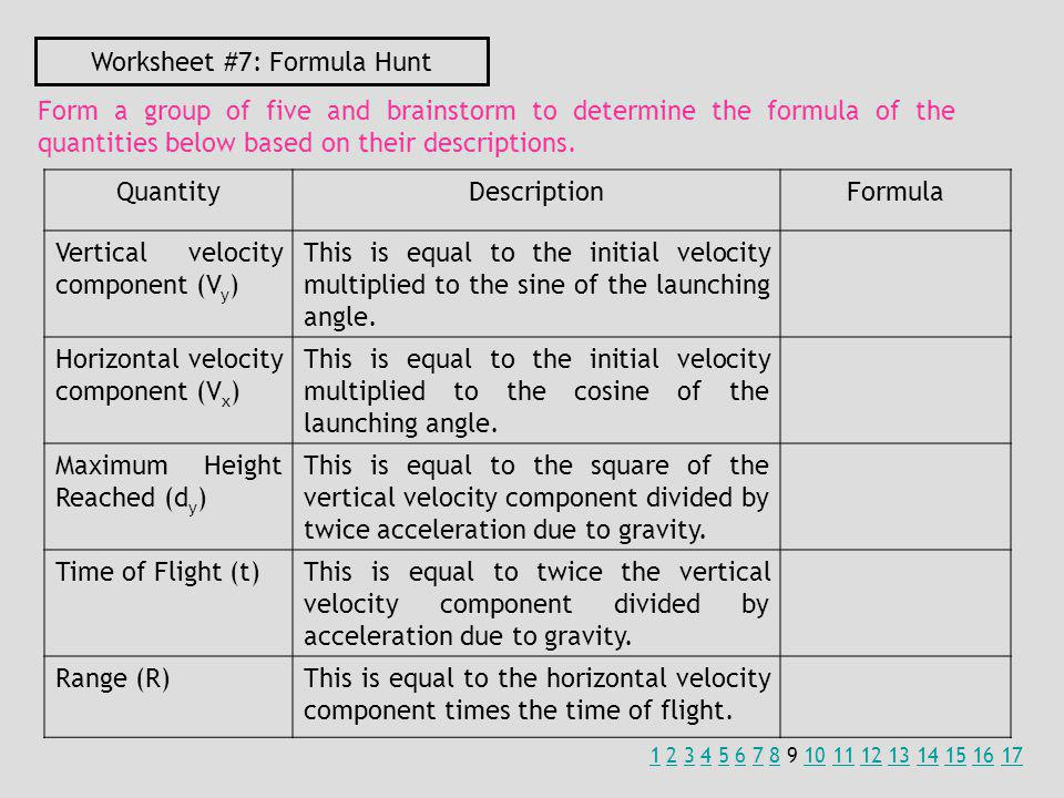 Worksheet #7: Formula Hunt Form a group of five and brainstorm to determine the formula of the quantities below based on their descriptions.