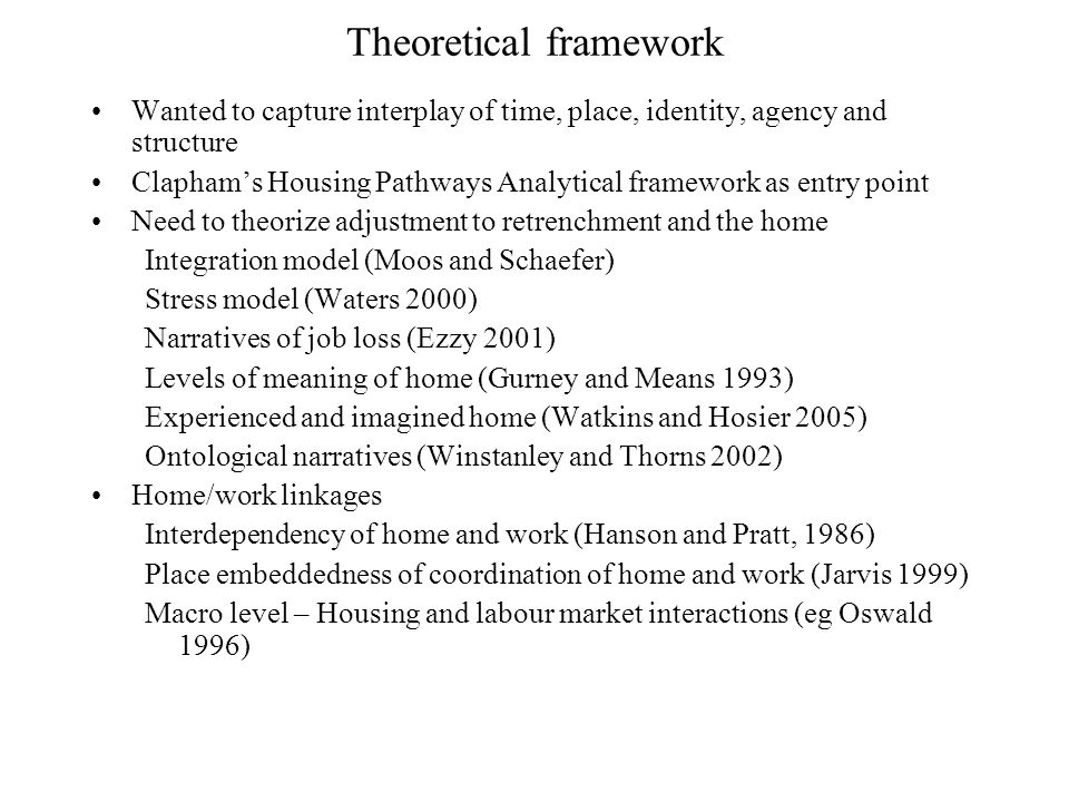 Theoretical framework Wanted to capture interplay of time, place, identity, agency and structure Claphams Housing Pathways Analytical framework as entry point Need to theorize adjustment to retrenchment and the home Integration model (Moos and Schaefer) Stress model (Waters 2000) Narratives of job loss (Ezzy 2001) Levels of meaning of home (Gurney and Means 1993) Experienced and imagined home (Watkins and Hosier 2005) Ontological narratives (Winstanley and Thorns 2002) Home/work linkages Interdependency of home and work (Hanson and Pratt, 1986) Place embeddedness of coordination of home and work (Jarvis 1999) Macro level – Housing and labour market interactions (eg Oswald 1996)
