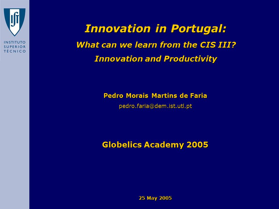 Introduction The study of the relationship between productivity and innovation is a very active research field.