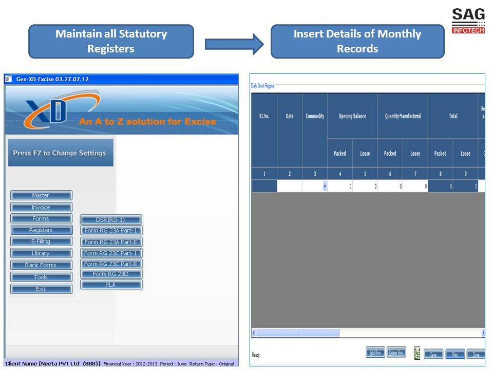 Insert Details of Monthly Records Maintain all Statutory Registers