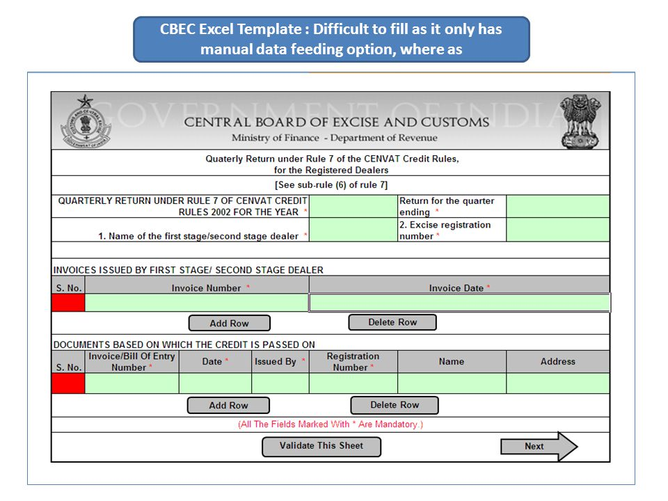CBEC Excel Template : Difficult to fill as it only has manual data feeding option, where as