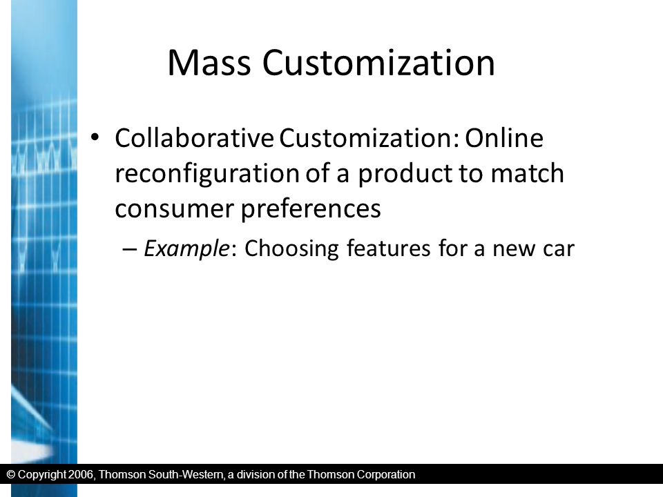 © Copyright 2006, Thomson South-Western, a division of the Thomson Corporation Mass Customization Collaborative Customization: Online reconfiguration of a product to match consumer preferences – Example: Choosing features for a new car