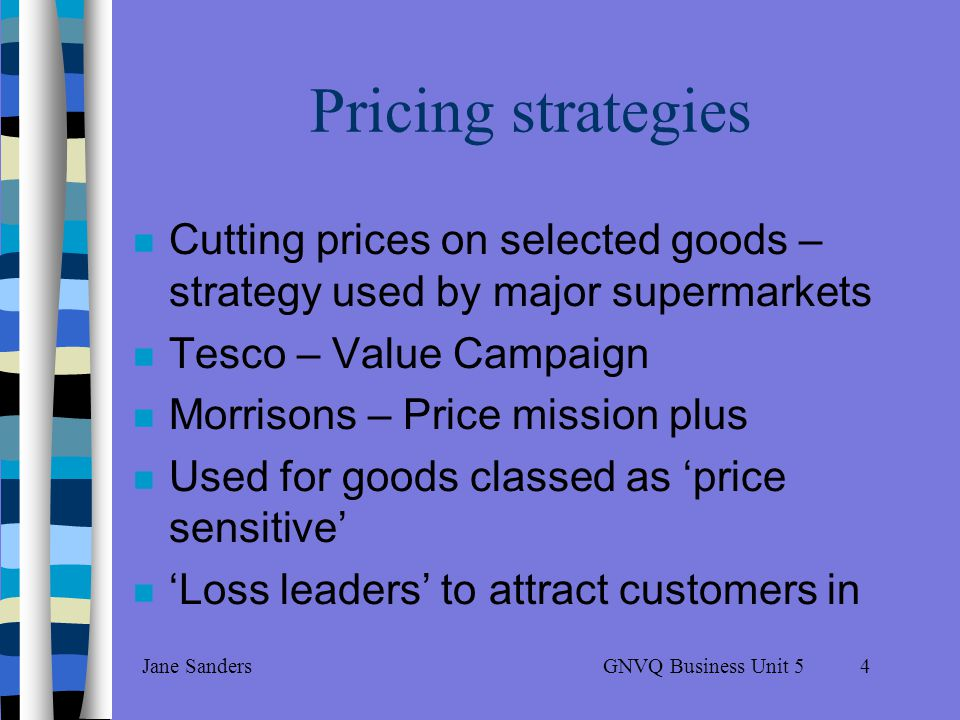 GNVQ Business Unit 5Jane Sanders3 Customer Incentives Pricing strategies Discounts Loyalty schemes Sale items Multi-packaging Free offers Credit terms Delivery terms After-sales service