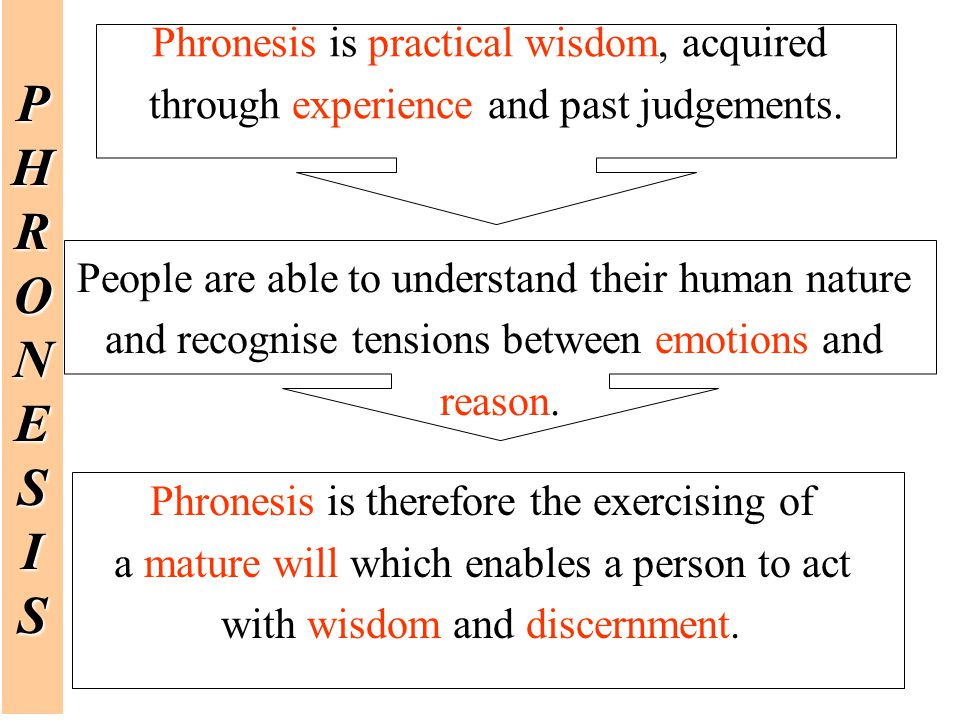 Phronesis is practical wisdom, acquired through experience and past judgements.PHRONESIS People are able to understand their human nature and recognis