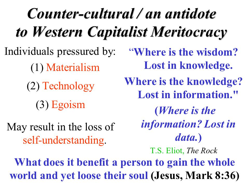 Counter-cultural / an antidote to Western Capitalist Meritocracy Individuals pressured by: (1) Materialism (2) Technology (3) Egoism May result in the