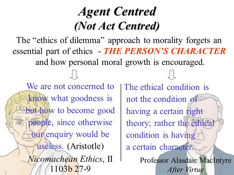 Agent Centred (Not Act Centred) The ethics of dilemma approach to morality forgets an essential part of ethics - THE PERSONS CHARACTER and how persona
