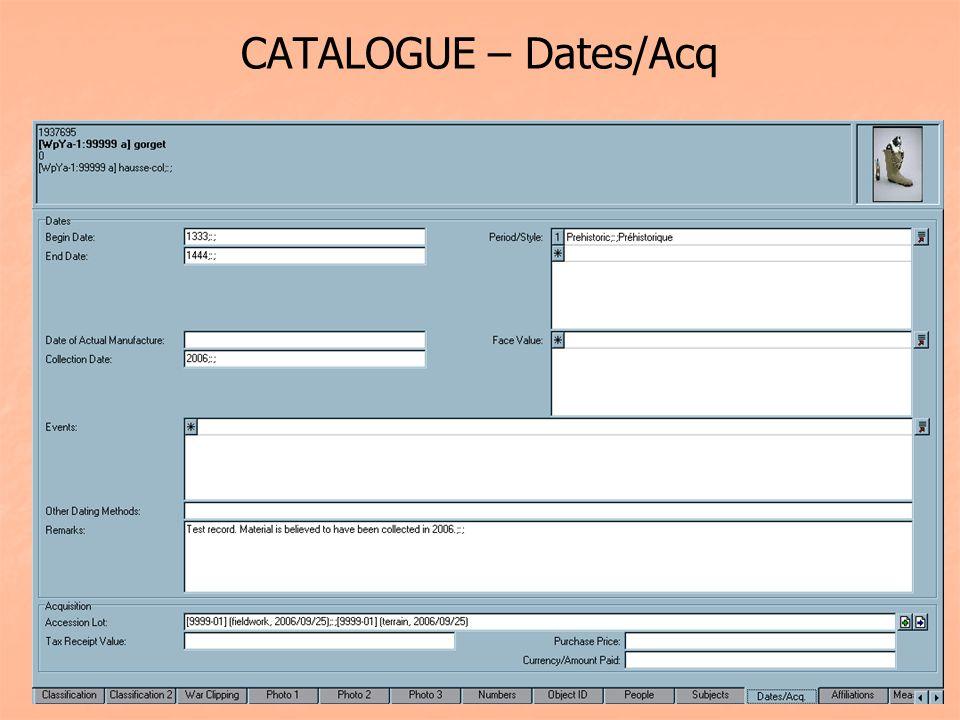 CATALOGUE – Dates/Acq