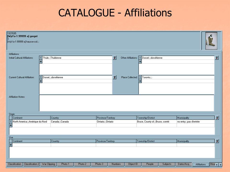 CATALOGUE - Affiliations