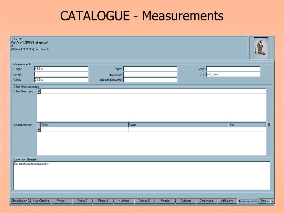 CATALOGUE - Measurements
