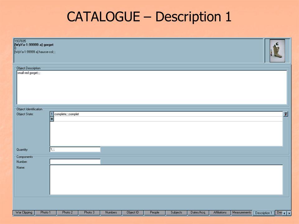 CATALOGUE – Description 1