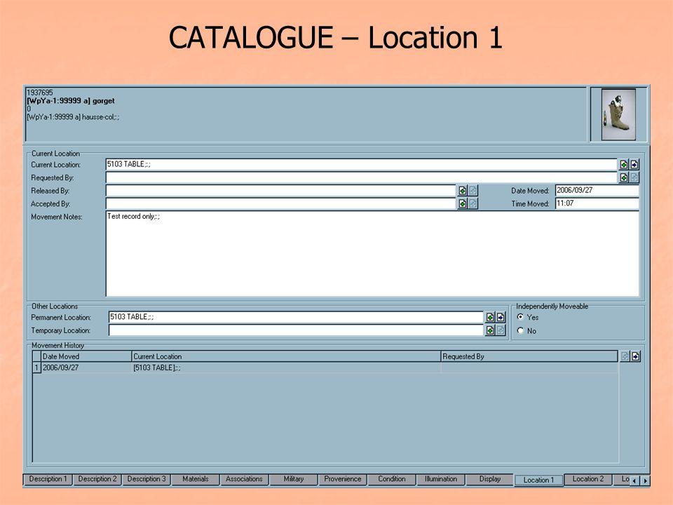 CATALOGUE – Location 1