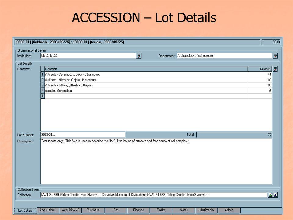 ACCESSION – Lot Details