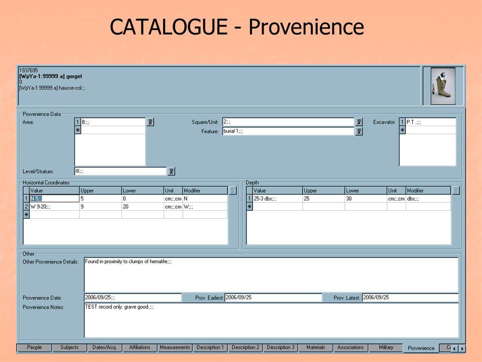 CATALOGUE - Provenience