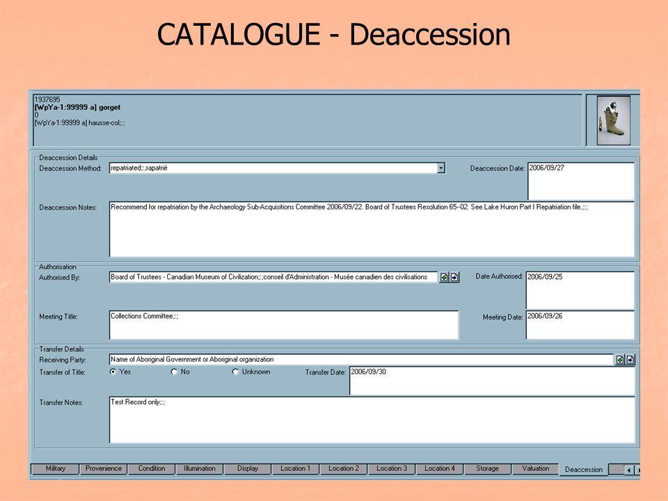 CATALOGUE - Deaccession