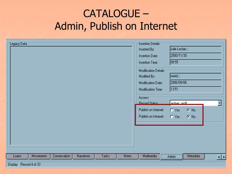 CATALOGUE – Admin, Publish on Internet