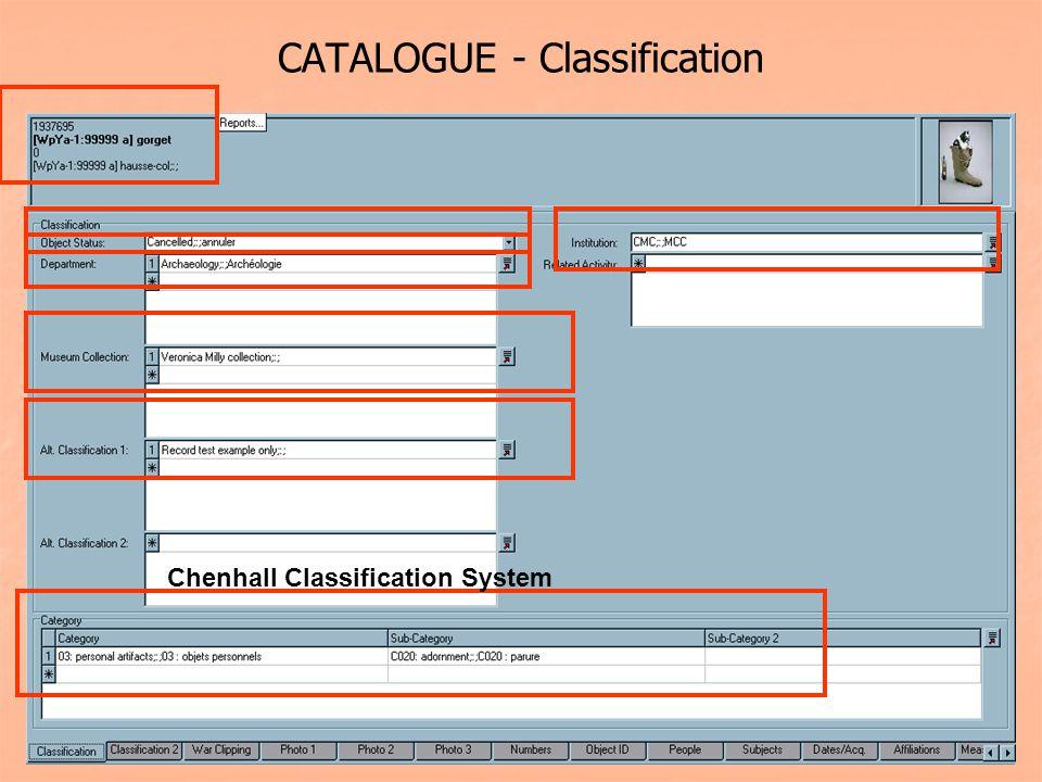 CATALOGUE - Classification Chenhall Classification System