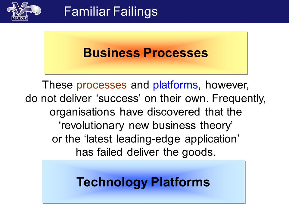 Familiar Failings Technology Platforms Business Processes These processes and platforms, however, do not deliver success on their own.