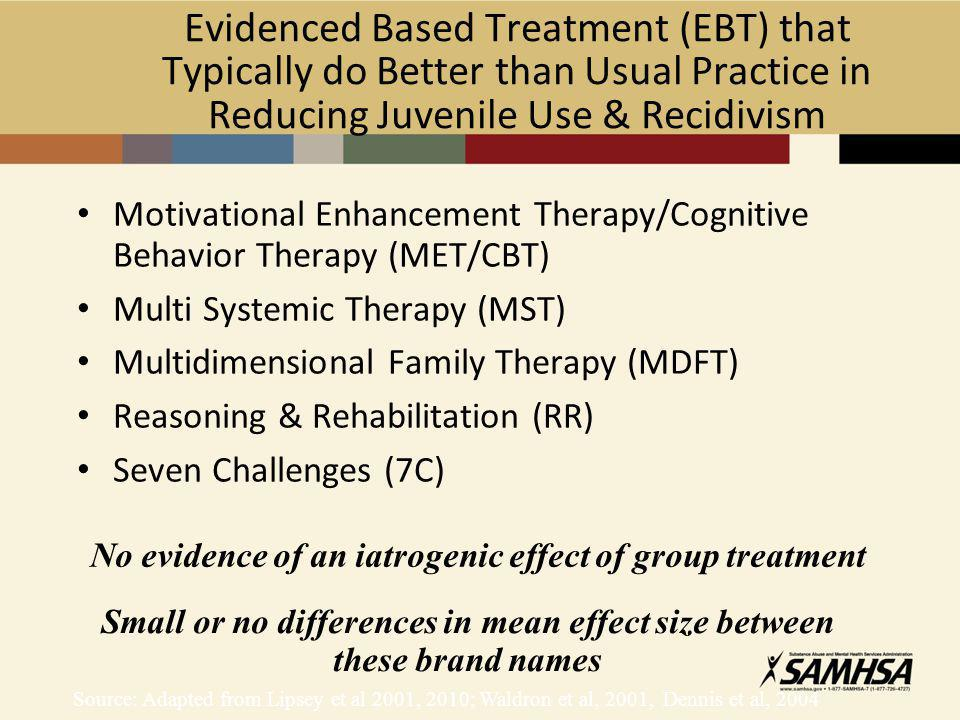 Evidenced Based Treatment (EBT) that Typically do Better than Usual Practice in Reducing Juvenile Use & Recidivism Motivational Enhancement Therapy/Cognitive Behavior Therapy (MET/CBT) Multi Systemic Therapy (MST) Multidimensional Family Therapy (MDFT) Reasoning & Rehabilitation (RR) Seven Challenges (7C) Source: Adapted from Lipsey et al 2001, 2010; Waldron et al, 2001, Dennis et al, 2004 No evidence of an iatrogenic effect of group treatment Small or no differences in mean effect size between these brand names