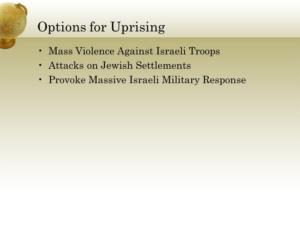 Options for Uprising Mass Violence Against Israeli Troops Attacks on Jewish Settlements Provoke Massive Israeli Military Response