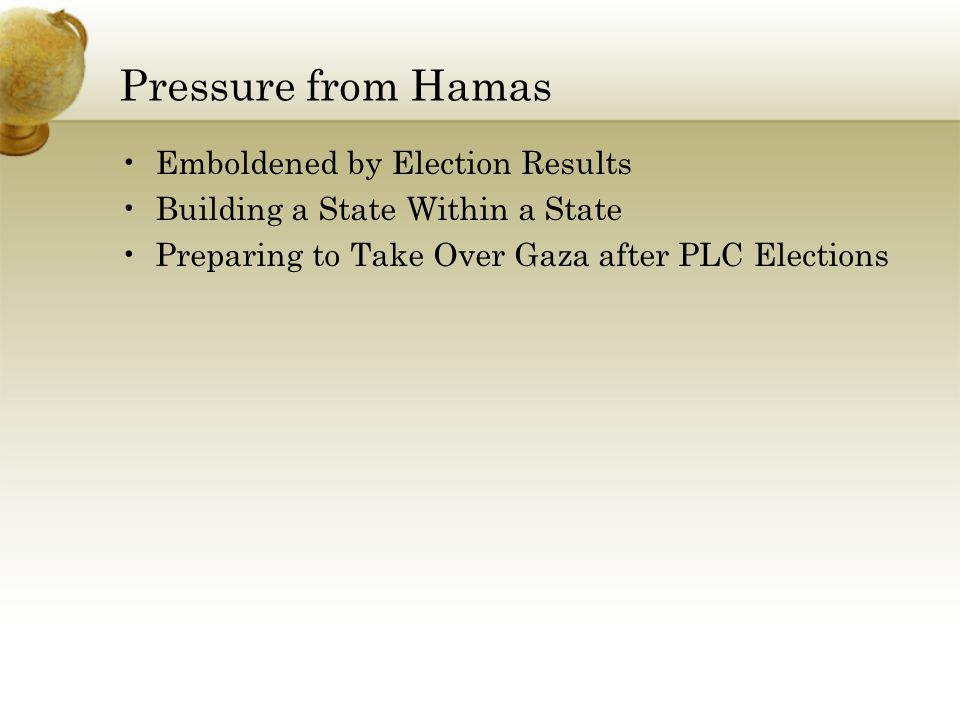Pressure from Hamas Emboldened by Election Results Building a State Within a State Preparing to Take Over Gaza after PLC Elections