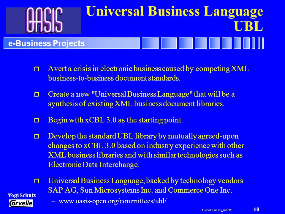 File: ebusiness_ref.PPT 10 Yogi Schulz e-Business Projects Universal Business Language UBL r Avert a crisis in electronic business caused by competing XML business-to-business document standards.