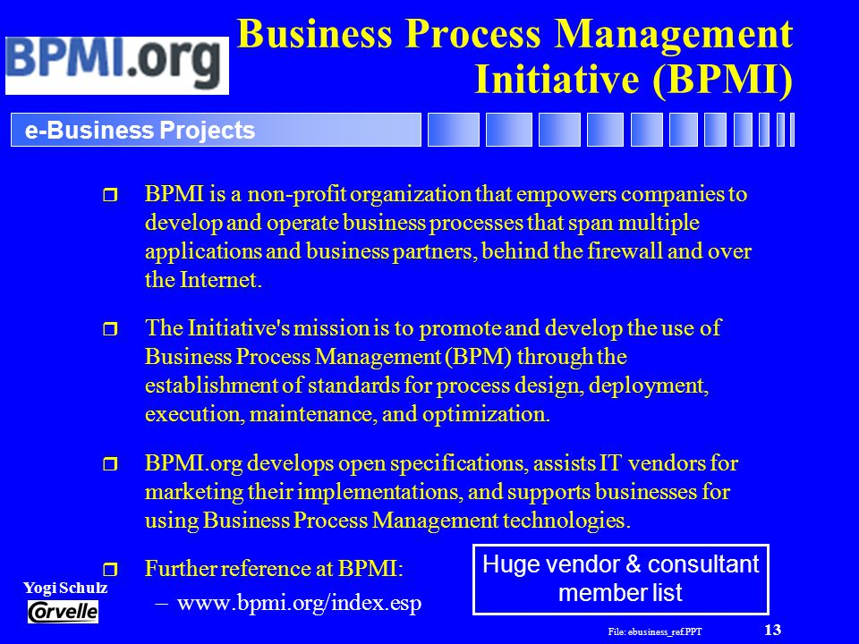 File: ebusiness_ref.PPT 13 Yogi Schulz e-Business Projects Business Process Management Initiative (BPMI) r BPMI is a non-profit organization that empowers companies to develop and operate business processes that span multiple applications and business partners, behind the firewall and over the Internet.