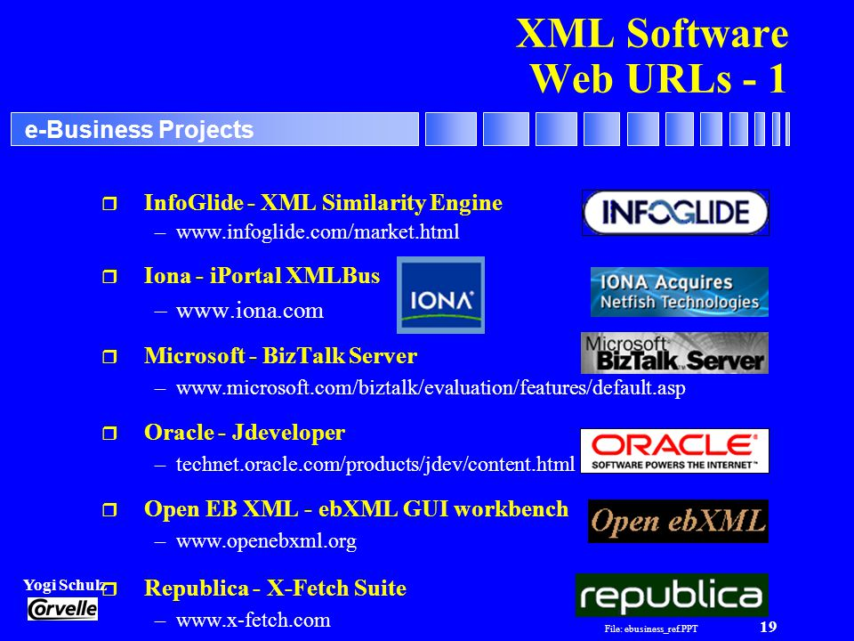 File: ebusiness_ref.PPT 19 Yogi Schulz e-Business Projects XML Software Web URLs - 1 r InfoGlide - XML Similarity Engine –  r Iona - iPortal XMLBus –  r Microsoft - BizTalk Server –  r Oracle - Jdeveloper –technet.oracle.com/products/jdev/content.html r Open EB XML - ebXML GUI workbench –  r Republica - X-Fetch Suite –