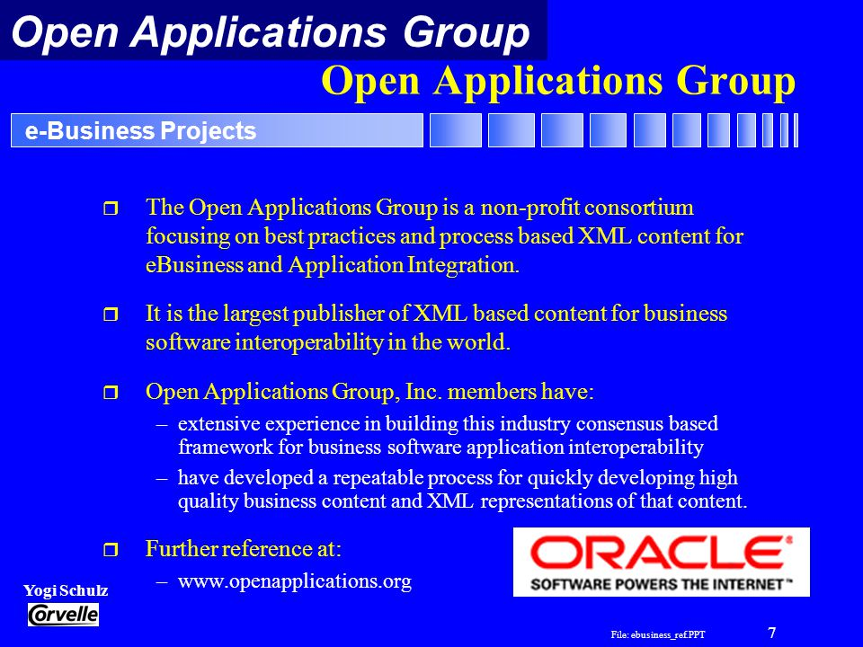 File: ebusiness_ref.PPT 7 Yogi Schulz e-Business Projects Open Applications Group r The Open Applications Group is a non-profit consortium focusing on best practices and process based XML content for eBusiness and Application Integration.