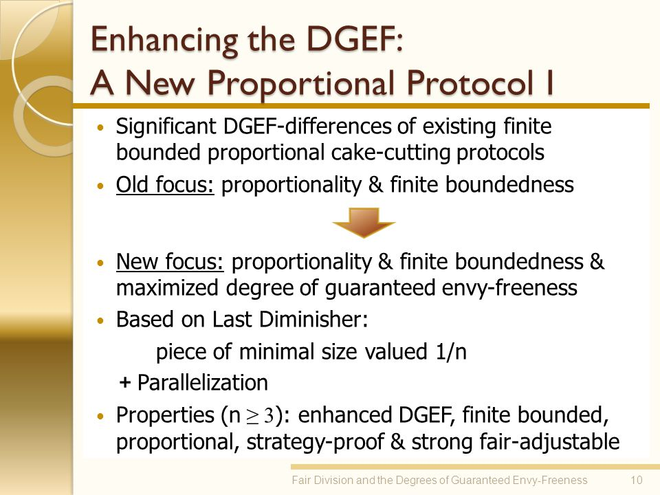 Enhancing the DGEF: A New Proportional Protocol I Significant DGEF-differences of existing finite bounded proportional cake-cutting protocols Old focu