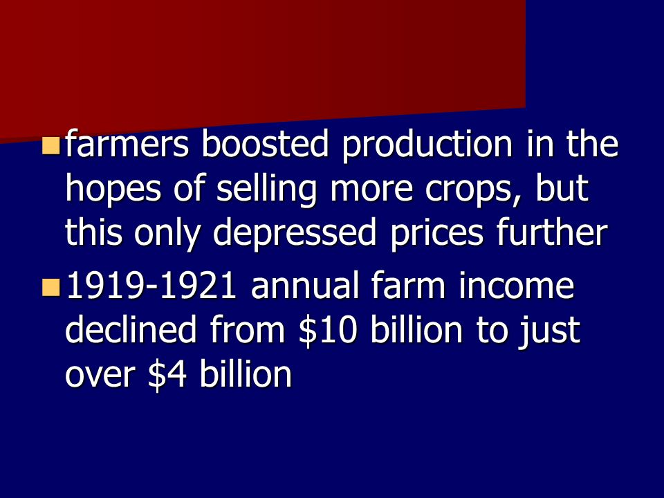 farmers boosted production in the hopes of selling more crops, but this only depressed prices further farmers boosted production in the hopes of selli