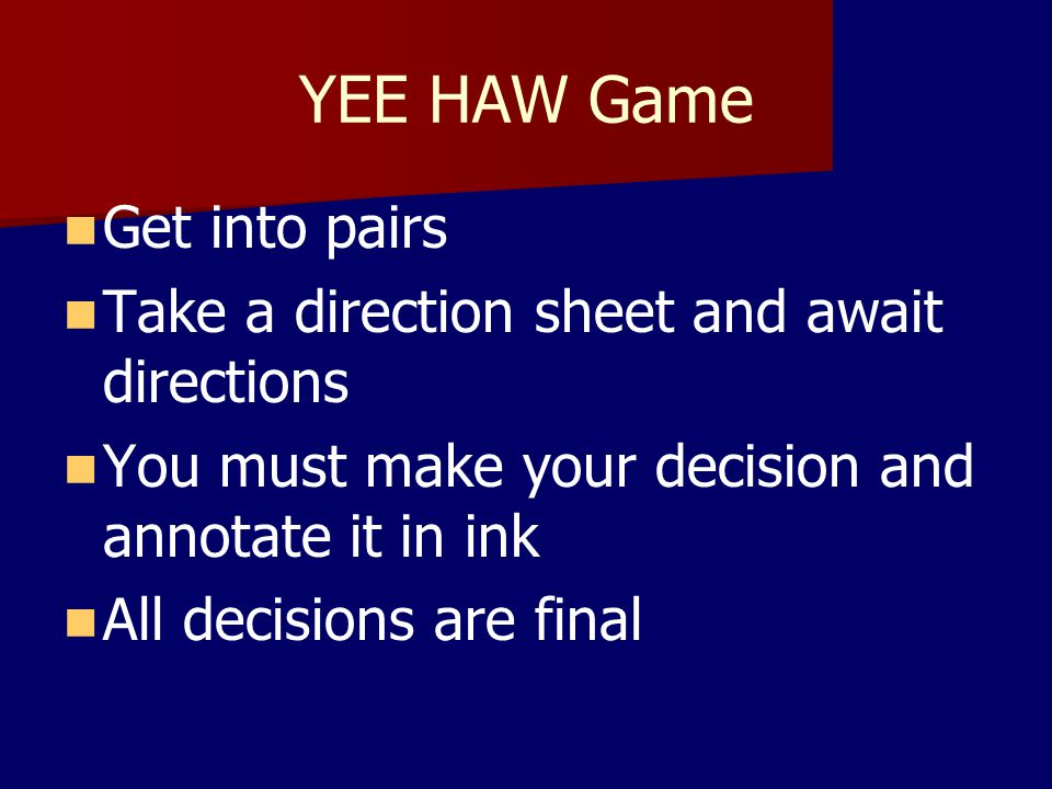 YEE HAW Game Get into pairs Take a direction sheet and await directions You must make your decision and annotate it in ink All decisions are final