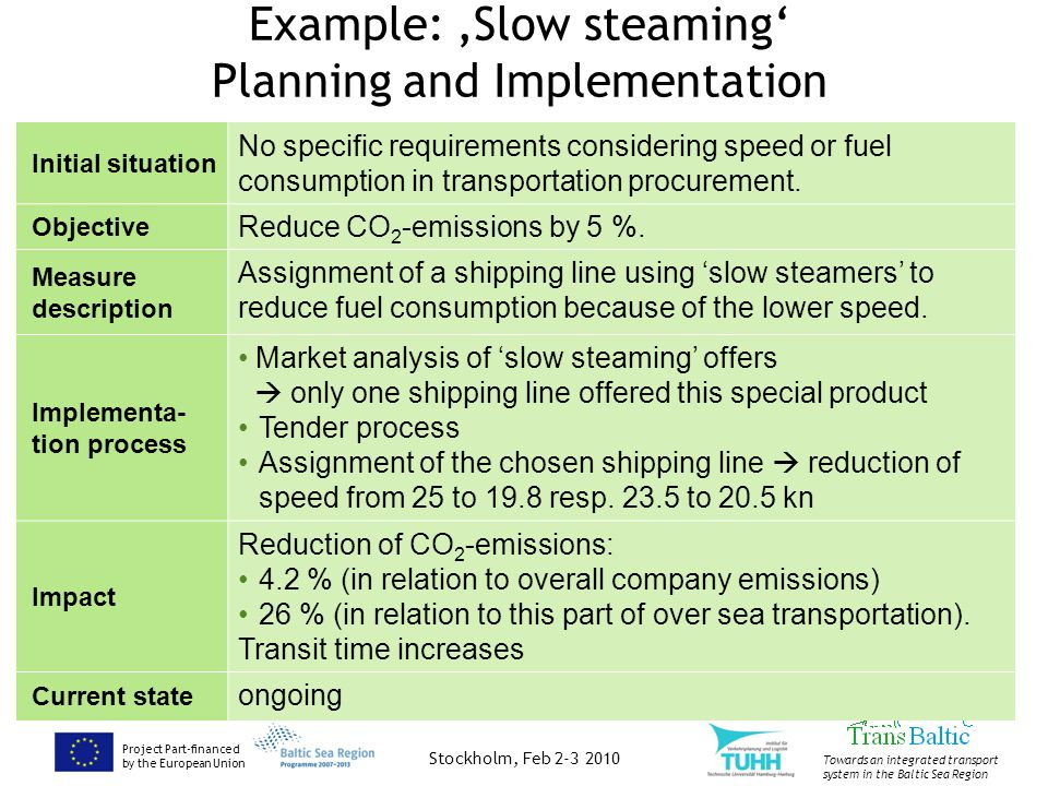 Project Part-financed by the European Union Towards an integrated transport system in the Baltic Sea Region Example: Slow steaming Planning and Implementation Initial situation No specific requirements considering speed or fuel consumption in transportation procurement.
