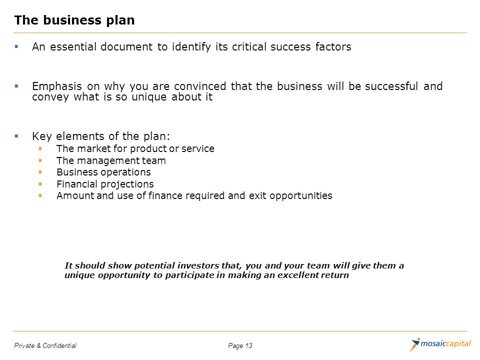 Page 13Private & Confidential The business plan An essential document to identify its critical success factors Emphasis on why you are convinced that
