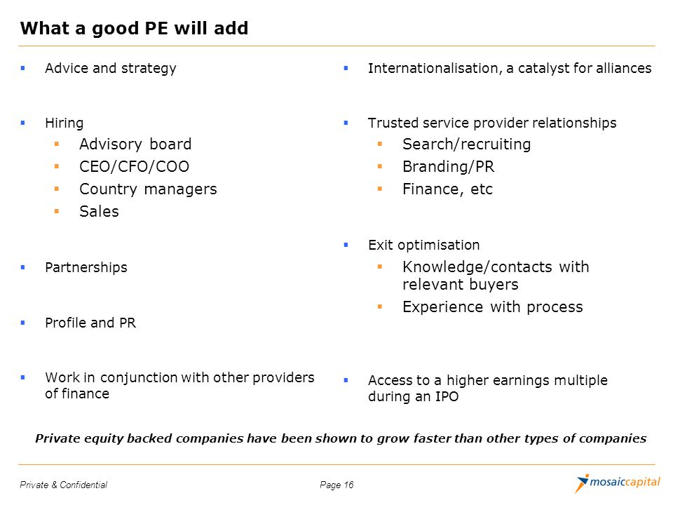 Page 16Private & Confidential What a good PE will add Advice and strategy Hiring Advisory board CEO/CFO/COO Country managers Sales Partnerships Profil