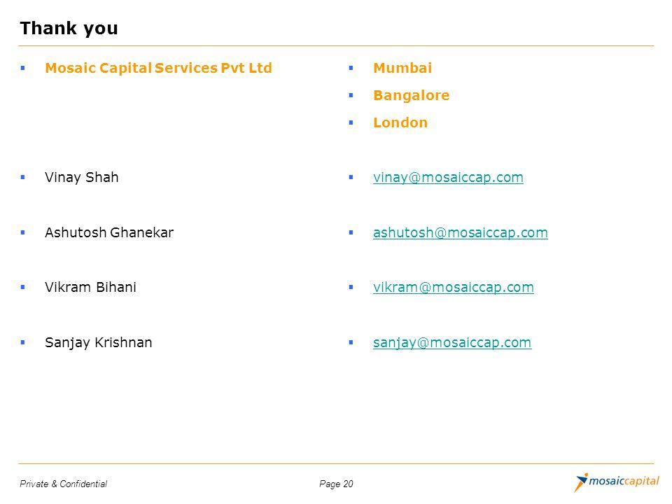 Page 20Private & Confidential Thank you Mosaic Capital Services Pvt Ltd Vinay Shah Ashutosh Ghanekar Vikram Bihani Sanjay Krishnan Mumbai Bangalore Lo