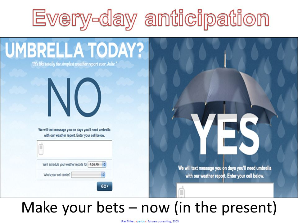 Riel Miller, xperidox: futures consulting, 2009 Make your bets – now (in the present)