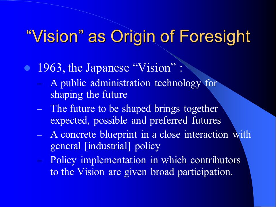 AB C Sometimes the shortest way from A to B is not the direct one The Japanese Vision will be C, even 9 x C .