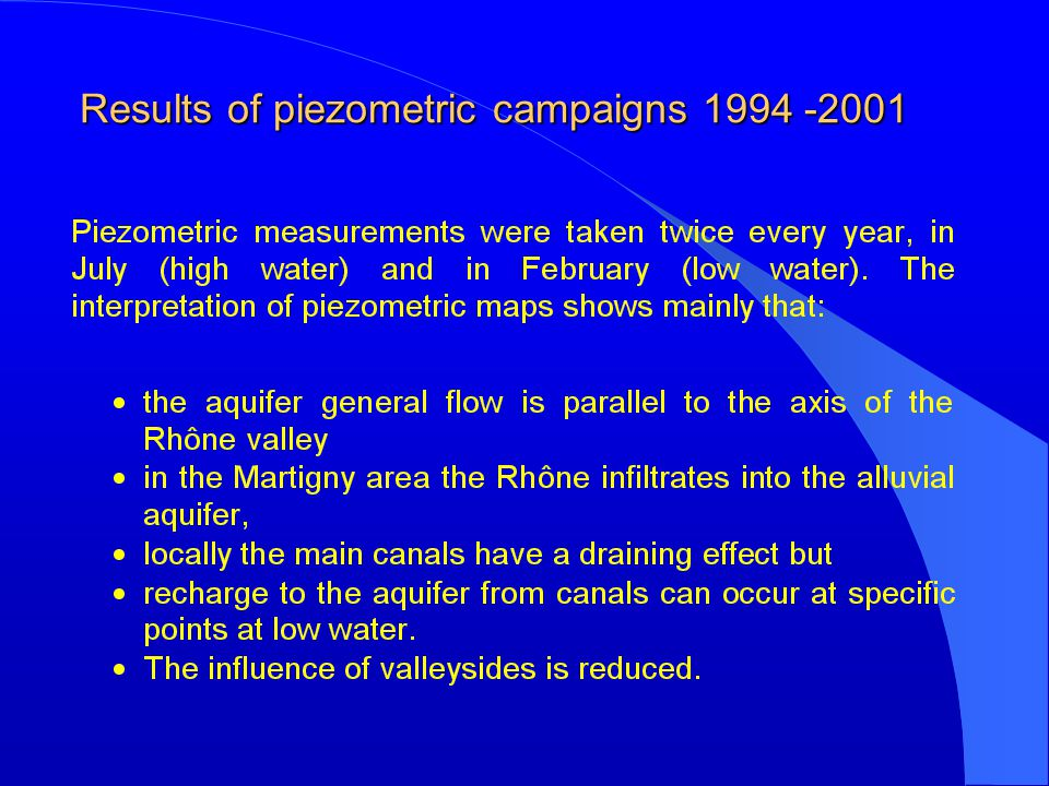 Results of piezometric campaigns 1994 -2001 Results of piezometric campaigns 1994 -2001