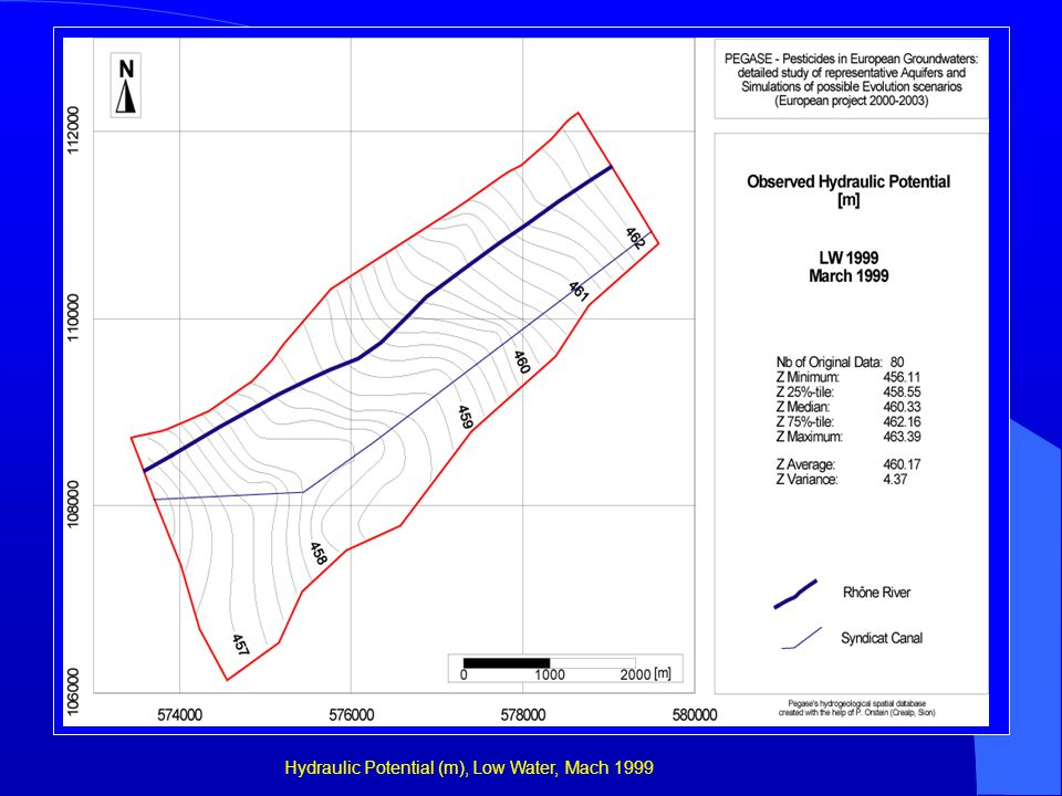 Hydraulic Potential (m), Low Water, Mach 1999